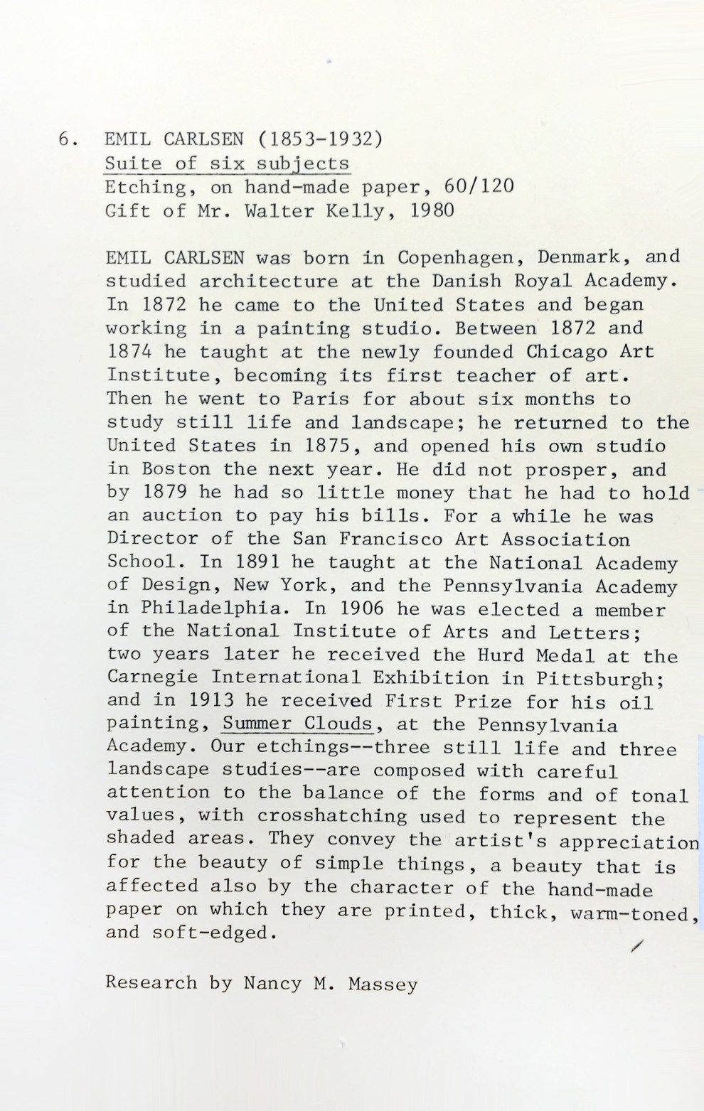 """Research on Emil Carlsen from Nancy M. Massey at the University of Louisville, KY for professor of Art History, Dario A. Coviing portfolio"", 1980"