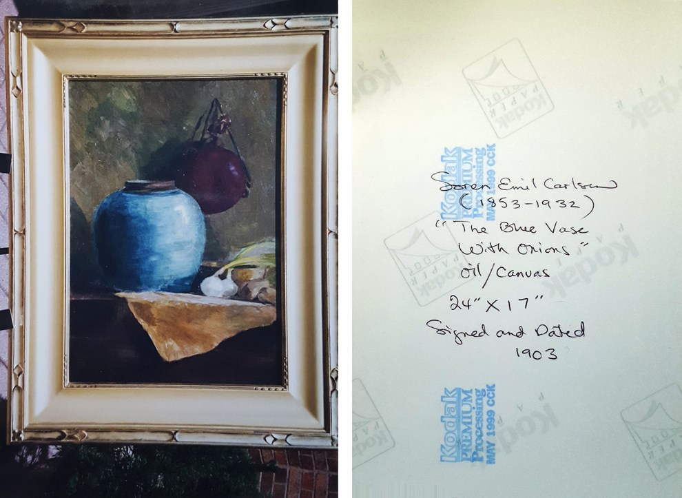 """Photograph of Emil Carlsen's The Blue Vase"" provided by Patricia Weiner Gallery, Cincinnati, OH, c.1998"