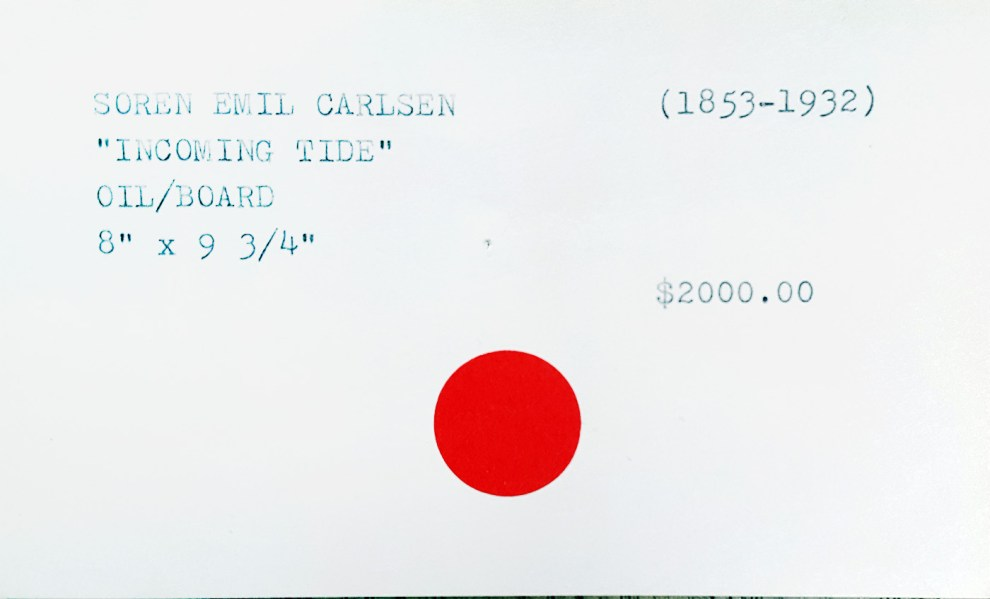 """Index Card for Emil Carlsen's Incoming Tide"" provided by the Patricia Weiner Gallery, Cincinnati, c.1997"