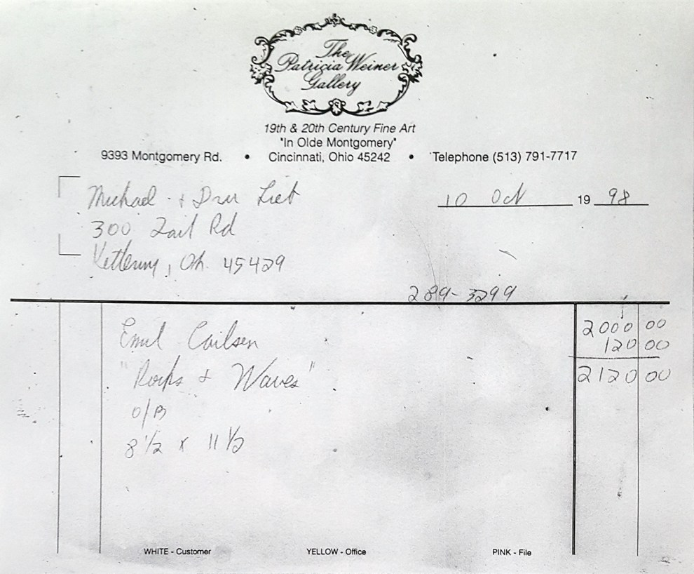 """Invoice for Emil Carlsen's Rocks & Waves"" provided by the Patricia Weiner Gallery, Cincinnati, OH, October 10, 1998"