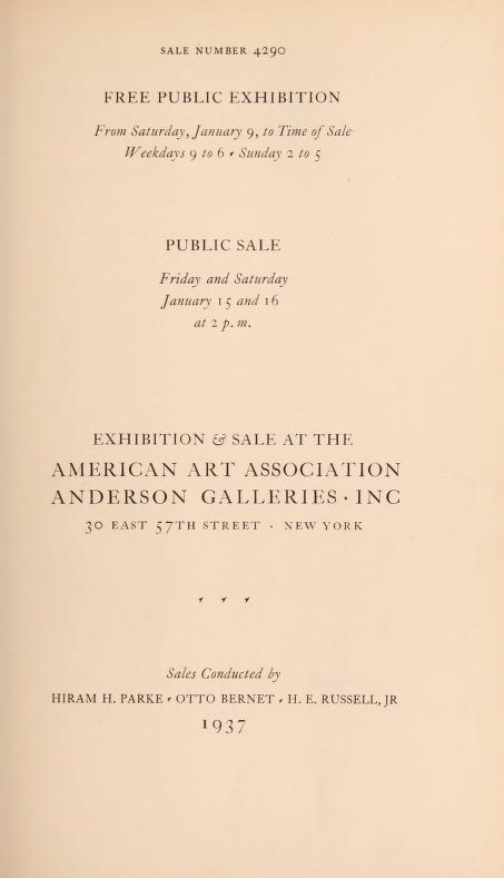 "1937 American Art Association, Anderson Galleries Inc, New York, NY, ""Property of the Estate of the Late George D. Pratt"", January 15-16"