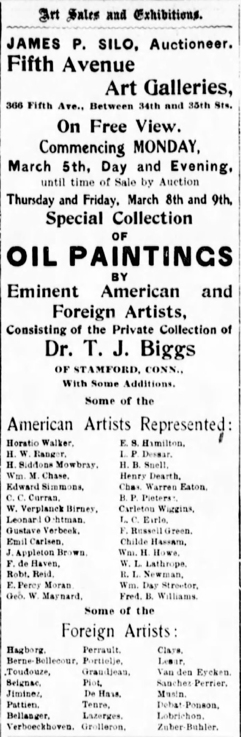 "The Sun, New York, NY, ""Art Sales and Exhibitions."", Monday, March 5, 1900, first edition, page 10, not illustrated"