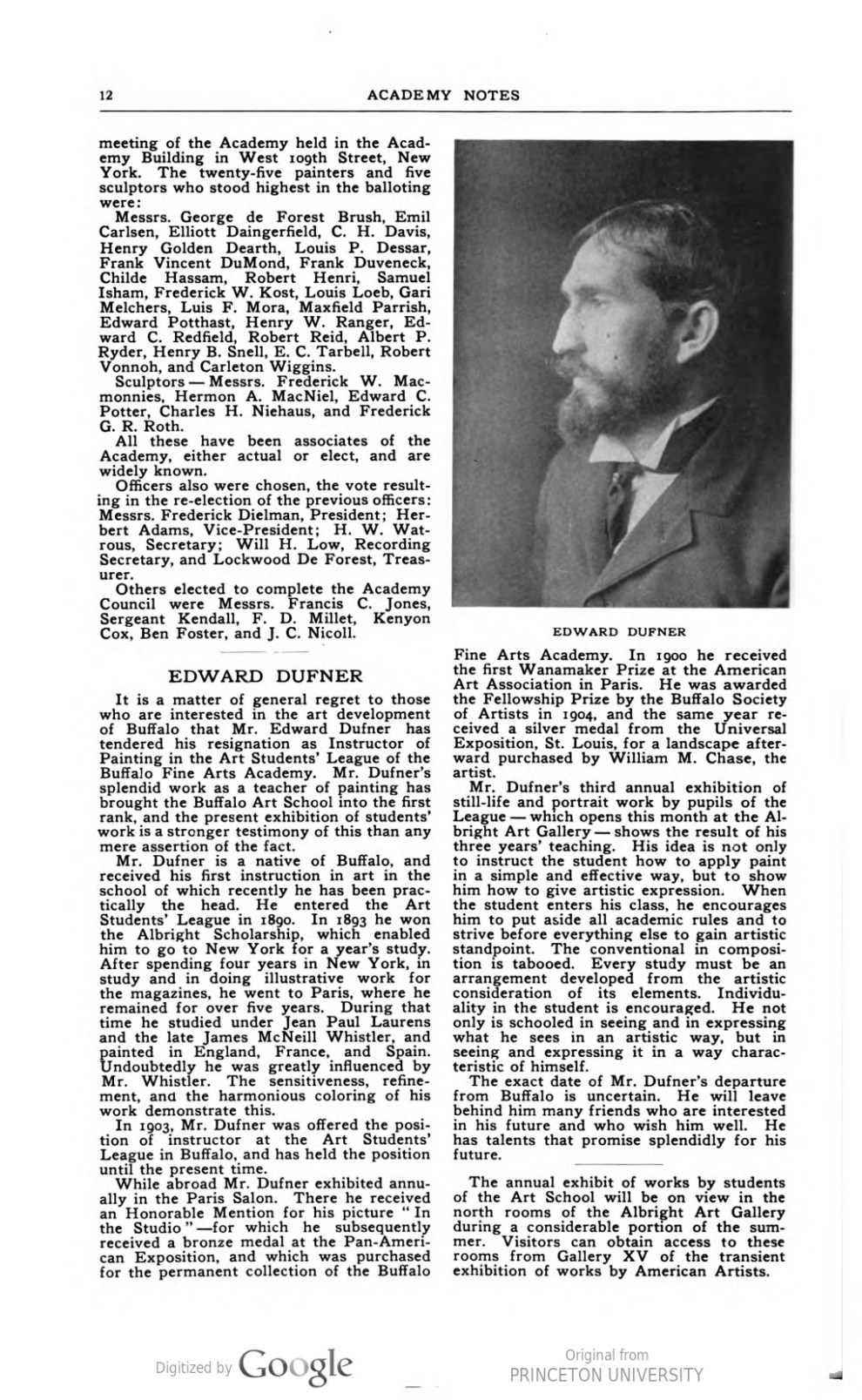 """Academy Notes, Buffalo Fine Arts Academy, Albright Art Gallery, Buffalo, NY, """"New Academicians First Election Since The Union of the National Academy and Society of American Artists"""", June, 1906, Volume 2, Number 1, page 11-12, not illustrated"""