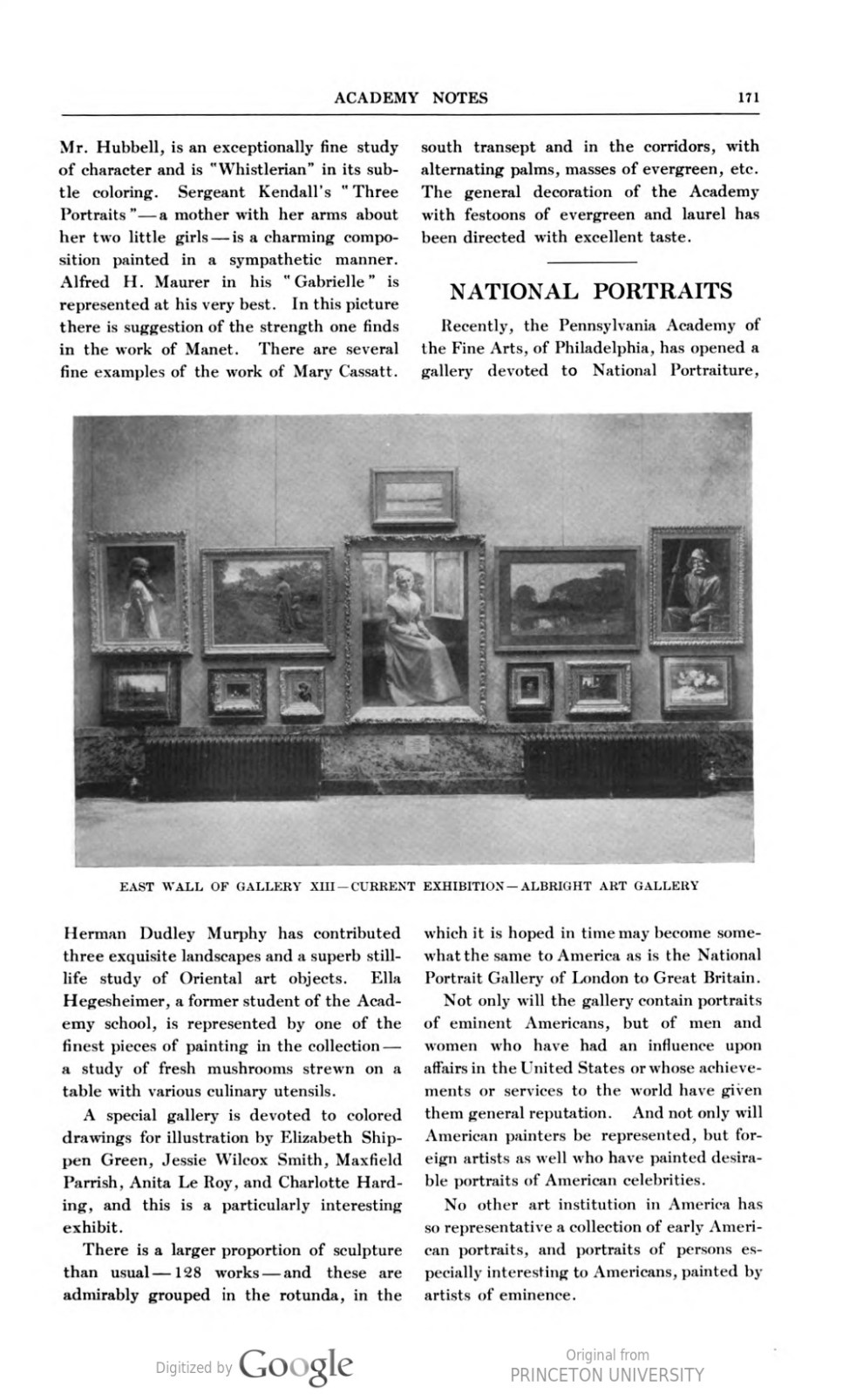 "Academy Notes, Buffalo Fine Arts Academy, Albright Art Gallery, Buffalo, NY, ""Philadelphia The Pennsylvania Academy's One Hundred and First Annual Exhibition"", March, 1906, Volume 1, Number 10, page 170-171, not illustrated"