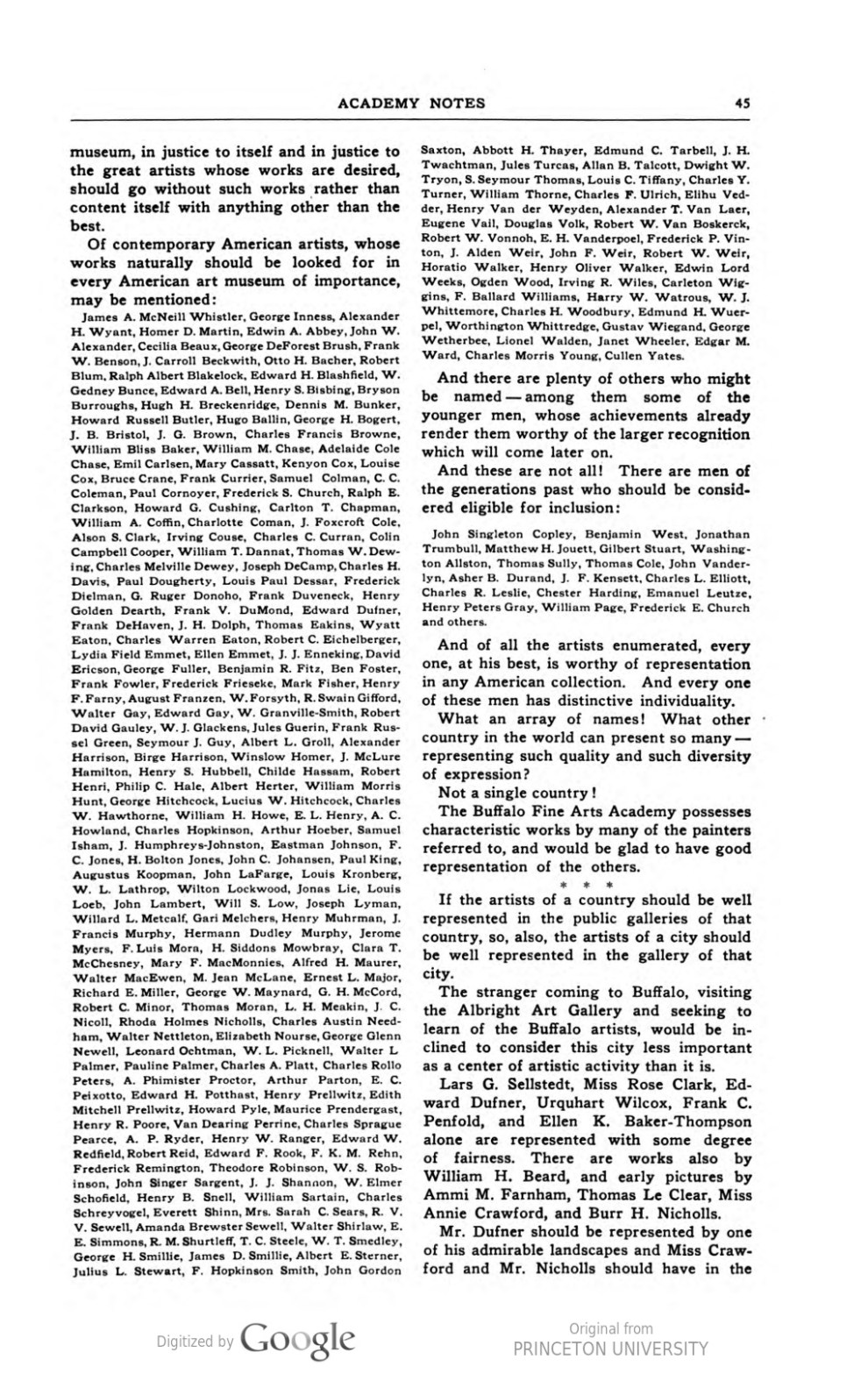 "Academy Notes, Buffalo Fine Arts Academy, Albright Art Gallery, Buffalo, NY, ""Second Annual Exhibition Selected American Paintings at the Albright Art Gallery Second Paper"", August, 1907, Volume 3, Number 3, page 44-46, not illustrated"