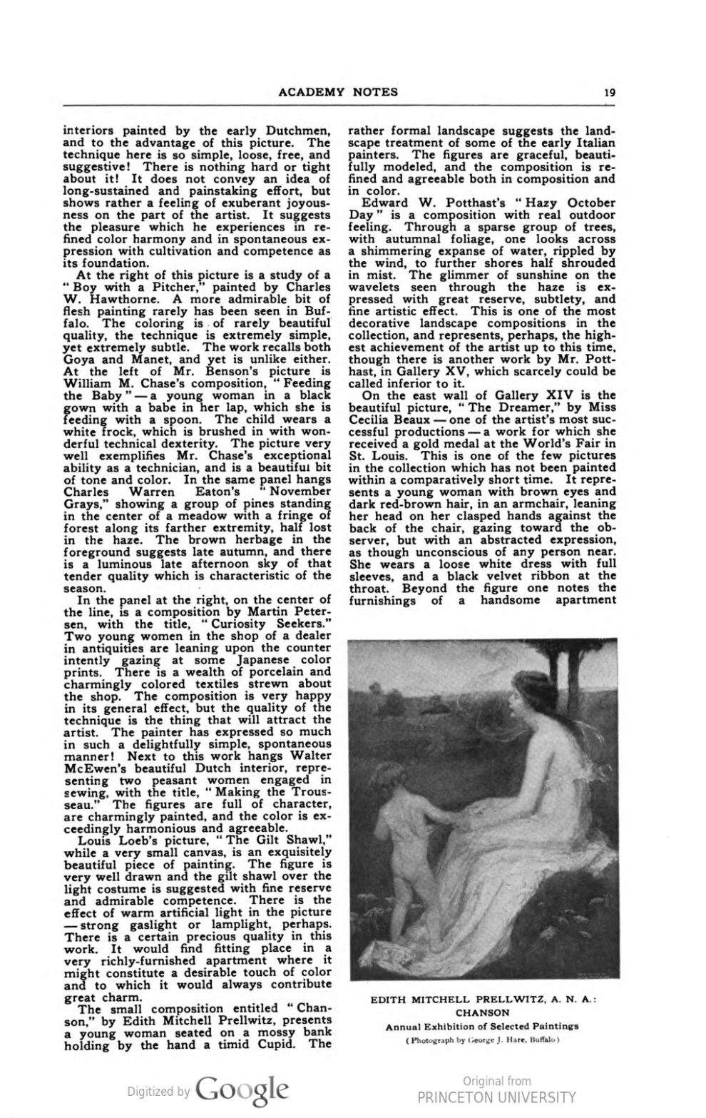 "Academy Notes, Buffalo Fine Arts Academy, Albright Art Gallery, Buffalo, NY, ""Second Annual Exhibition Selected American Paintings at the Albright Art Gallery First Paper"", July, 1907, Volume 3, Number 2, page 17-22, not illustrated"