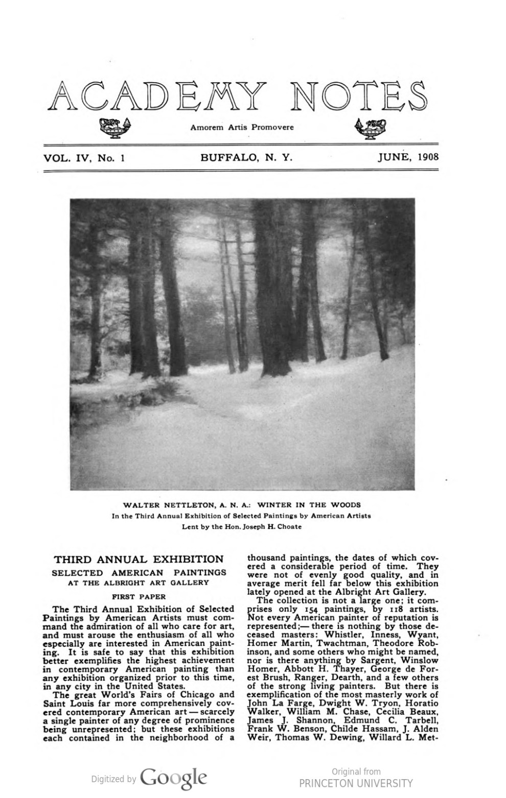 "Academy Notes, Buffalo Fine Arts Academy, Albright Art Gallery, Buffalo, NY, ""Third Annual Exhibition Selected American Paintings at the Albright Art Gallery First Paper"", June, 1908, Volume 4, Number 1, page 1-7, not illustrated"