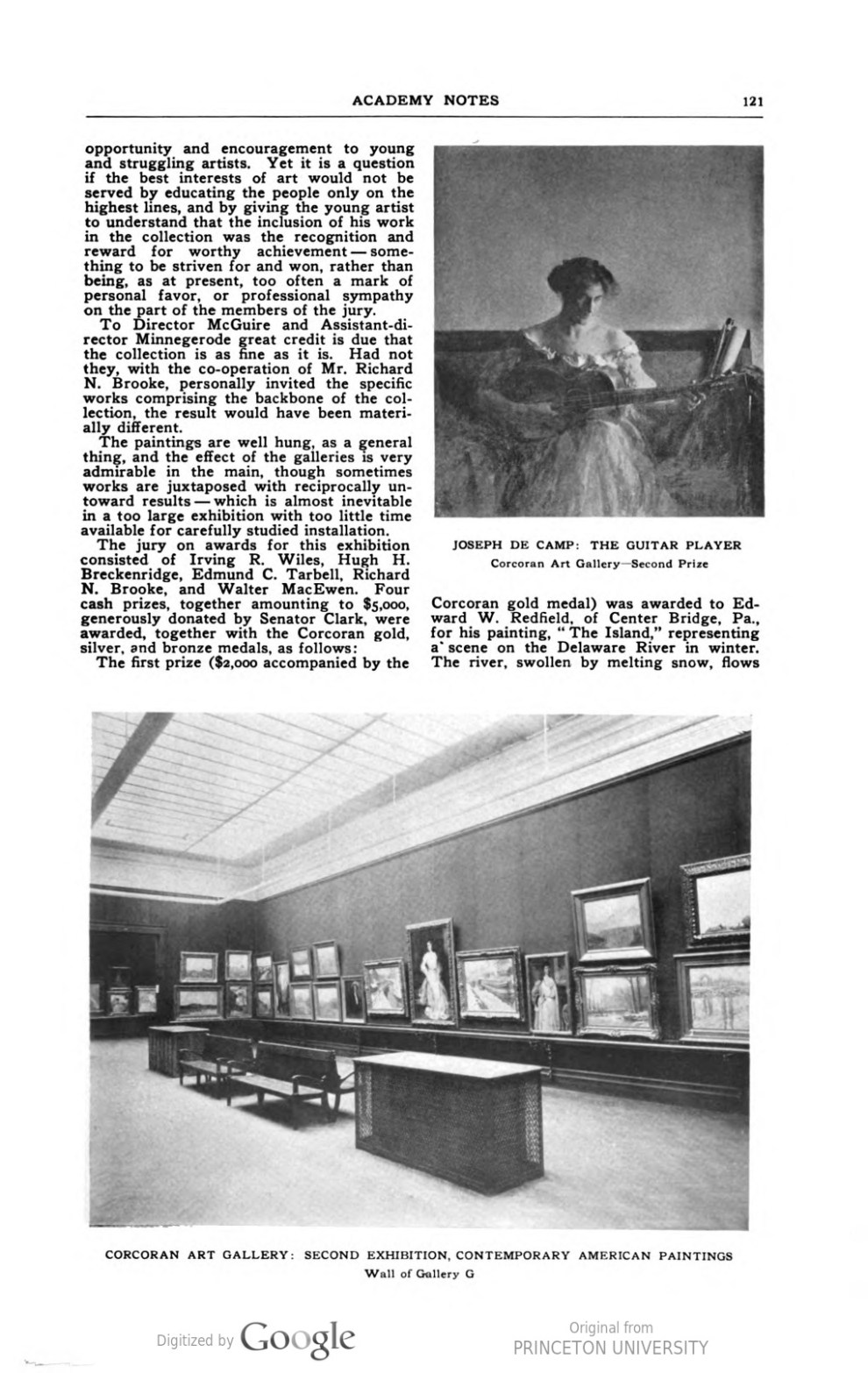 "Academy Notes, Buffalo Fine Arts Academy, Albright Art Gallery, Buffalo, NY, ""Art Museum Notes"", January, 1909, Volume 4, Number 8, page 120-124, not illustrated"