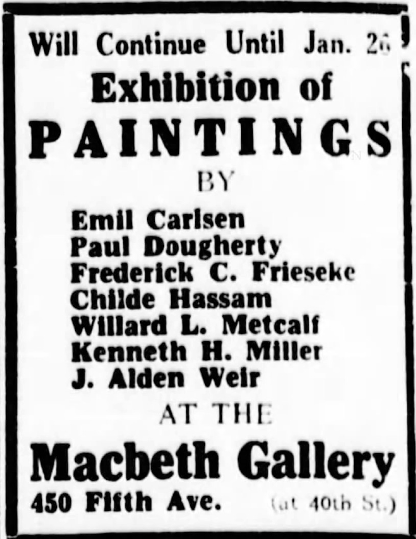 "The Sun, New York, NY, ""Emil Carlsen Newspaper Ad from Macbeth Gallery"", Sunday, January 21, 1914, First edition, page 2"