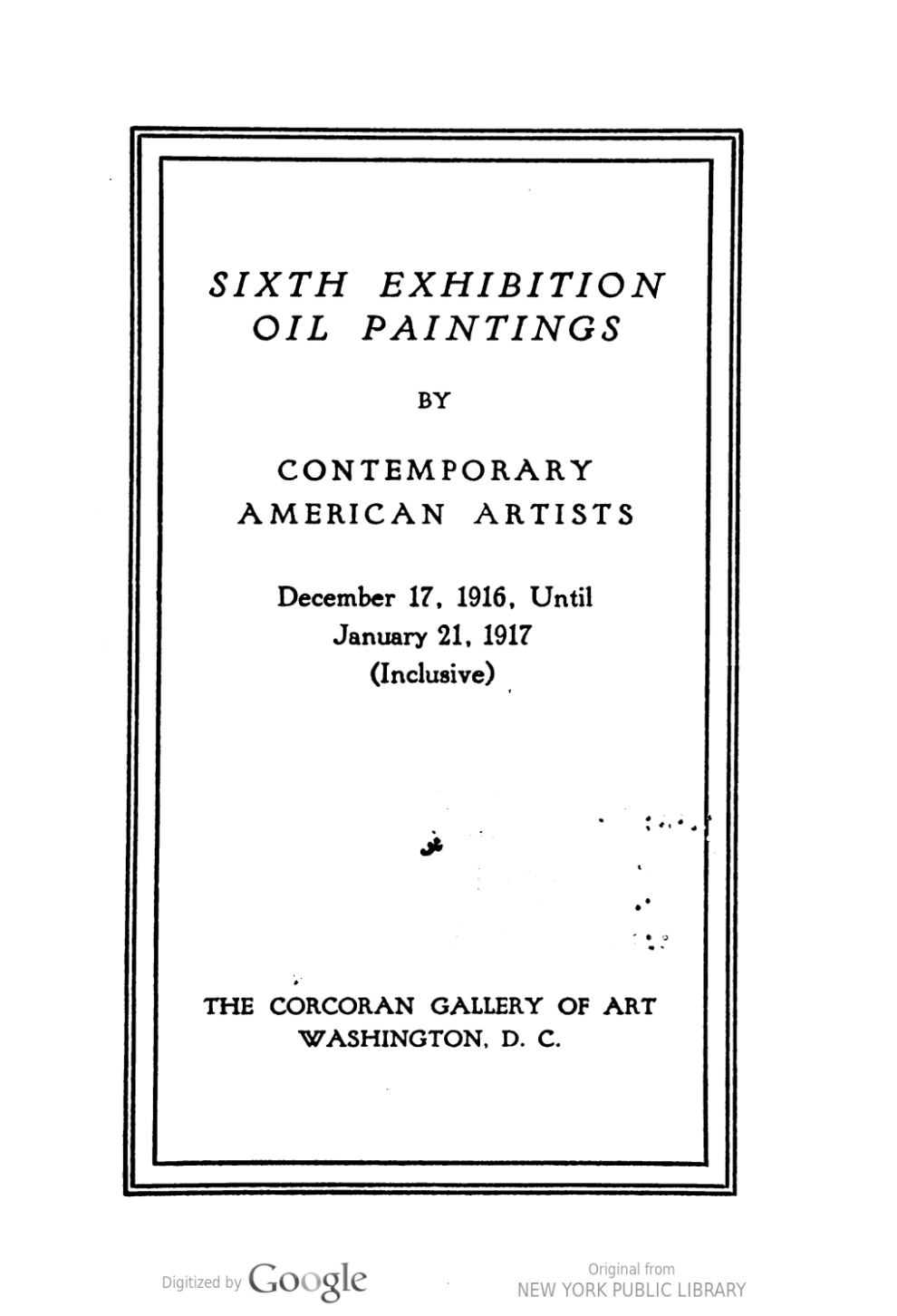 "1919-1920 The Corcoran Gallery of Art, Washington, DC, ""Seventh Exhibition Oil Paintings by Contemporary American Artists"", December 21, 1919 – January 25, 1920"