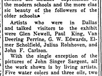 """The Semi-Weekly Campus, Southern Methodist University, Dallas, TX, """"Rare Collection at Art Exhibit"""" by K. Harden, Wednesday, February 16, 1927, volume 12, page 2, not illustrated"""