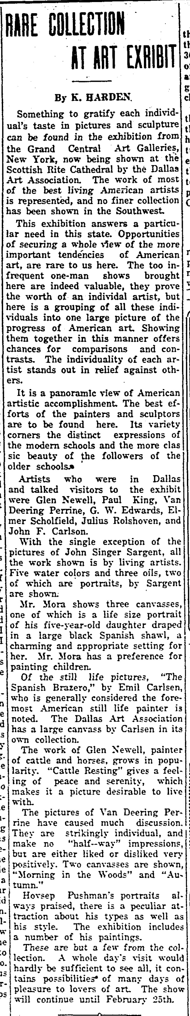 "The Semi-Weekly Campus, Southern Methodist University, Dallas, TX, ""Rare Collection at Art Exhibit"" by K. Harden, Wednesday, February 16, 1927, volume 12, page 2, not illustrated"