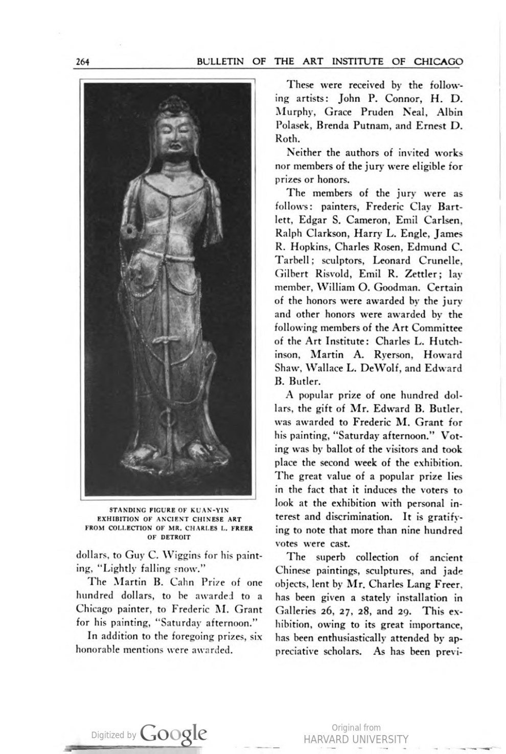 "Bulletin of the Art Institute of Chicago, Chicago, IL, ""Current Exhibitions"", December, 1927, volume 11, number 8, page 263-267, not illustrated"