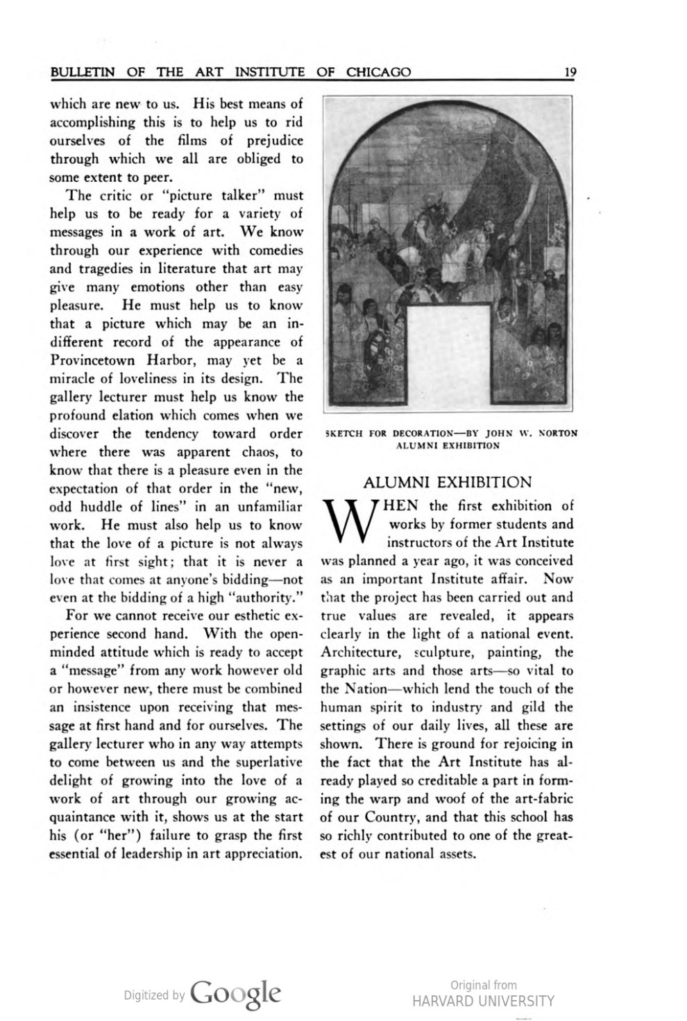 "Bulletin of the Art Institute of Chicago, Chicago, IL, ""Alumni Exhibition"", February, 1918, volume 12, number 2, page 19-20, 26, illustrated: b&w on page 26"