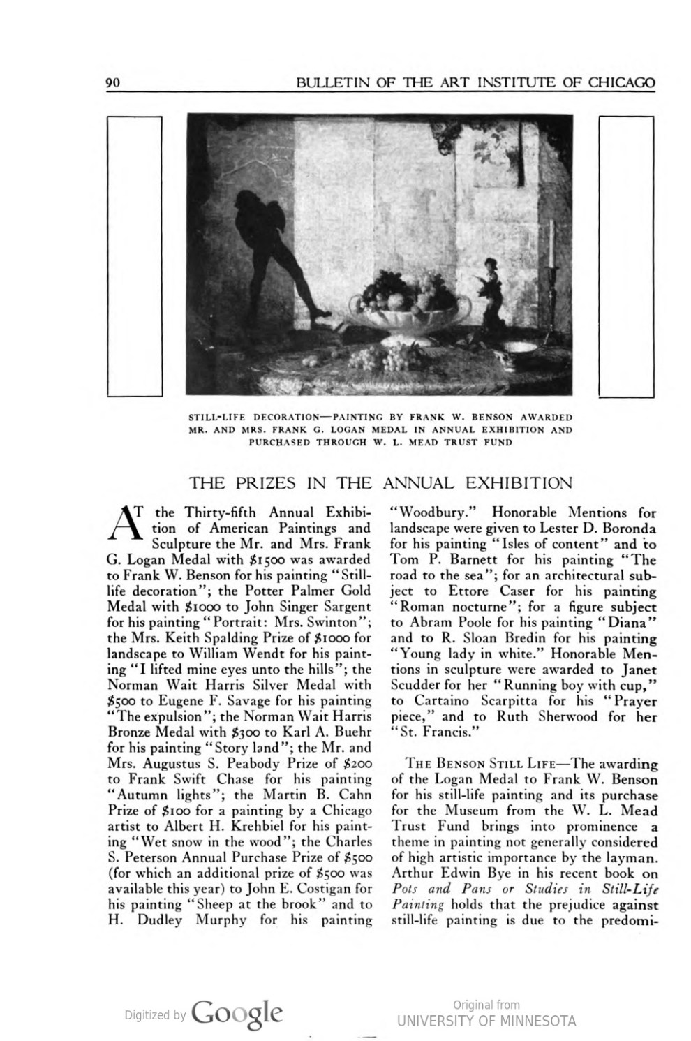 "Bulletin of the Art Institute of Chicago, Chicago, IL, ""The Prizes in the Annual Exhibition"", December 1, 1922, volume 16, number 7, pages 90-92, not illustrated."