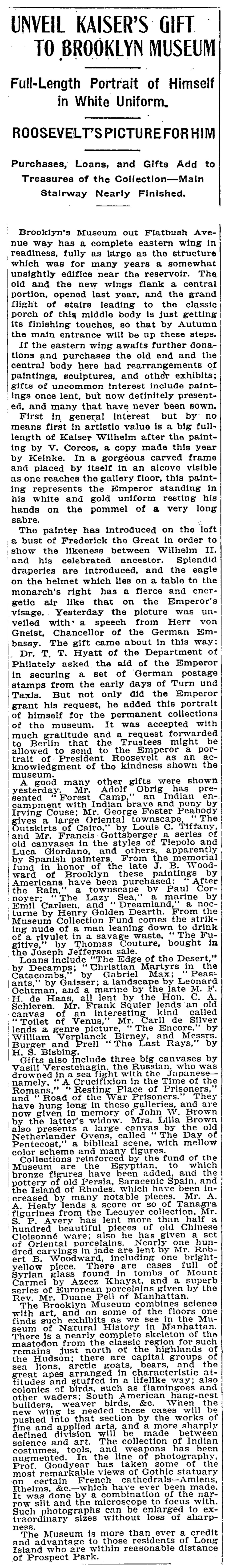"""The New York Times, New York, NY, """"Unveil Kaiser's Gift To Brooklyn Museum"""", June 17, 1906, not illustrated"""