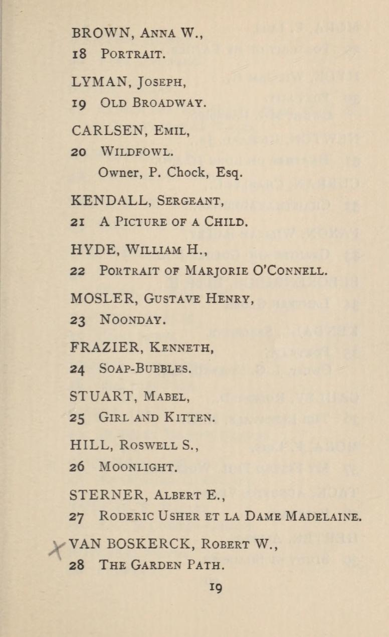 "1897 Society of American Artists, New York, NY, ""Nineteenth Annual Exhibition"", March 28 - May 1"
