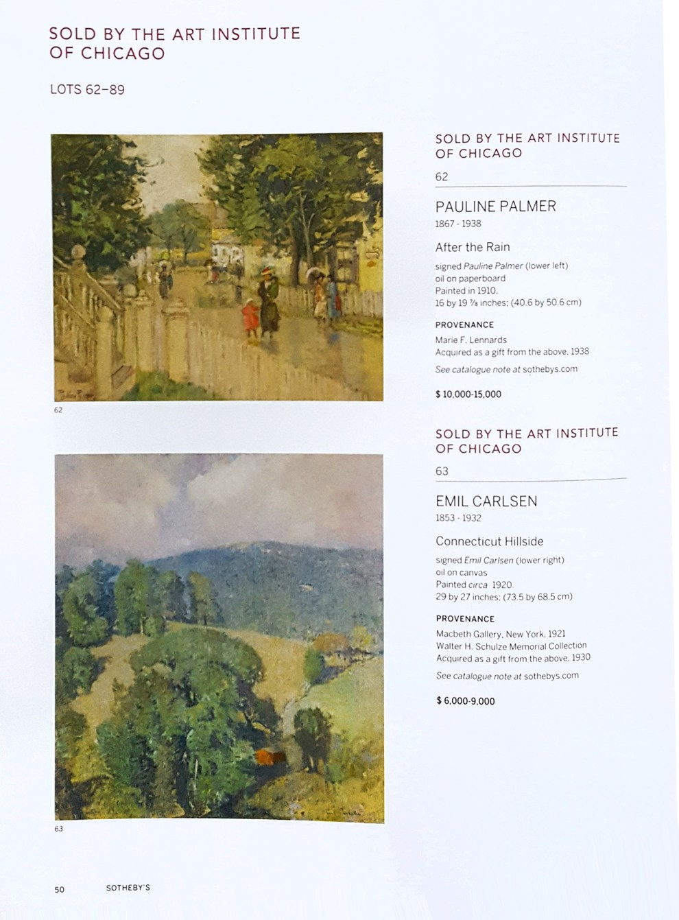 "2016 Sotheby's, New York, NY, ""American Art"", sale #N09563, October 20"