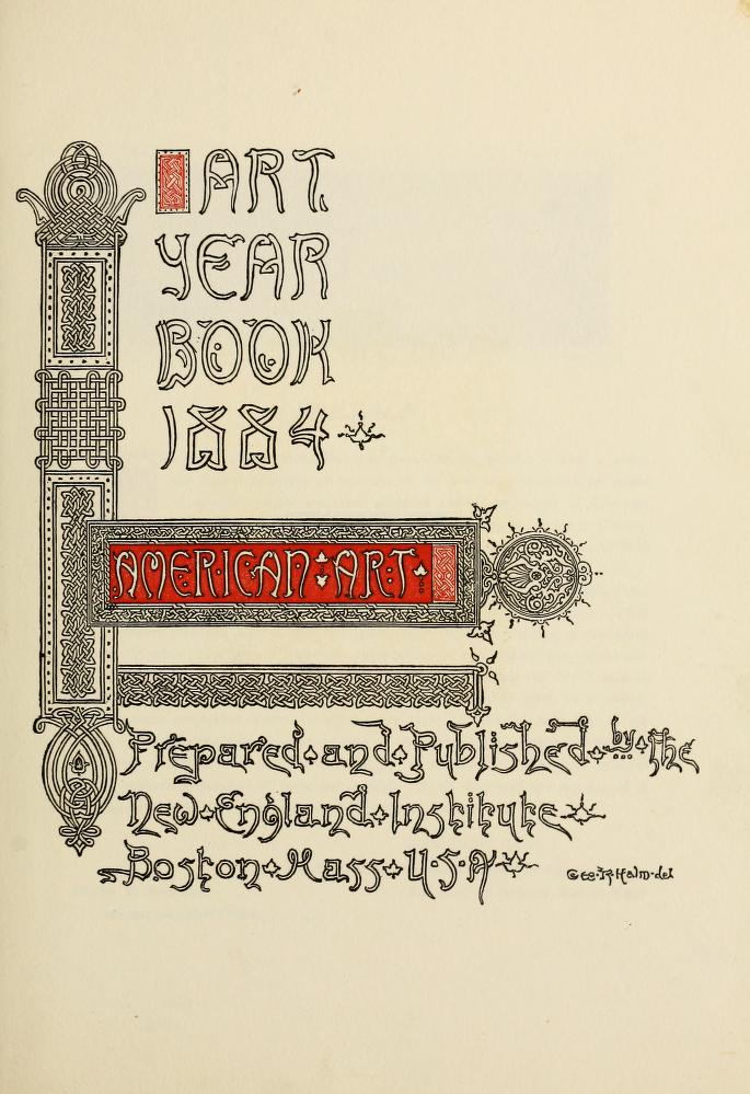 """Art Year Book"" by the New England Manufacturers' and Mechanics' Institute, Boston, MA, 1884, #75, not illustrated"