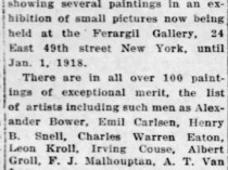 "The Courier-News, Bridgewater, NJ, ""Local Artist Exhibits in Fuargil Gallery"", Monday, December 24, 1917, page 2, not illustrated"