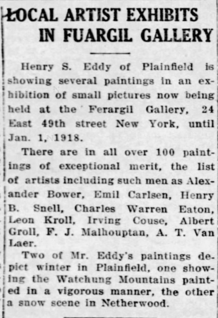 """The Courier-News, Bridgewater, NJ, """"Local Artist Exhibits in Fuargil Gallery"""", Monday, December 24, 1917, page 2, not illustrated"""