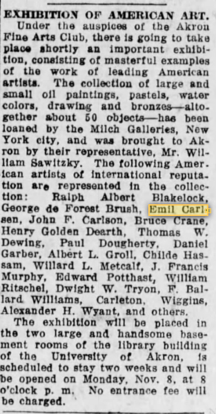 "Akron Beacon Journal, Akron, OH, ""Exhibition of American Art"", Friday, November 5, 1920, page 6"
