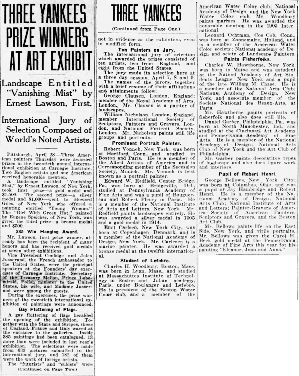 "Great Falls Tribune, Great Falls, MT, ""Three Yankees Prize Winners At Art Exhibit"", April 29, 1921, Main Edition, Page 1 & 2, not illustrated."