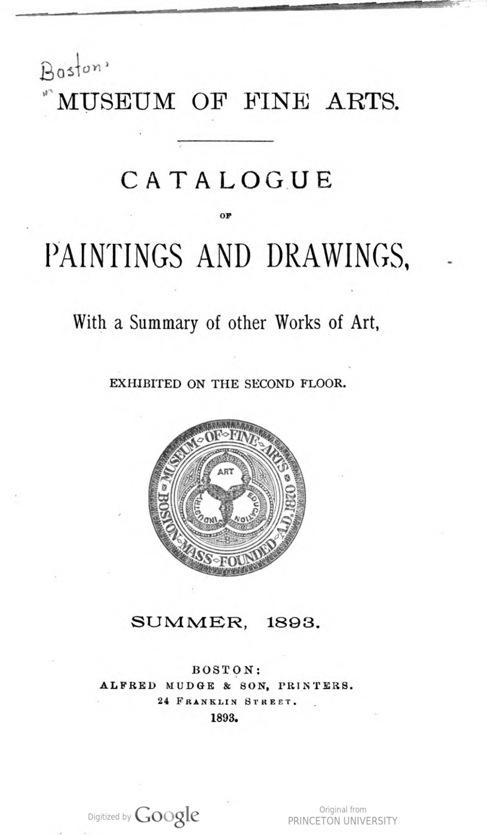 "1893 Museum of Fine Arts, Boston, MA, ""Paintings and Drawings"", Summer"