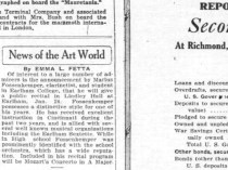 "Palladium Item, Richmond, IN, ""News of the Art World"" by Emma L Fetta, January 10, 1920, Main Edition, Page 5, not illustrated"