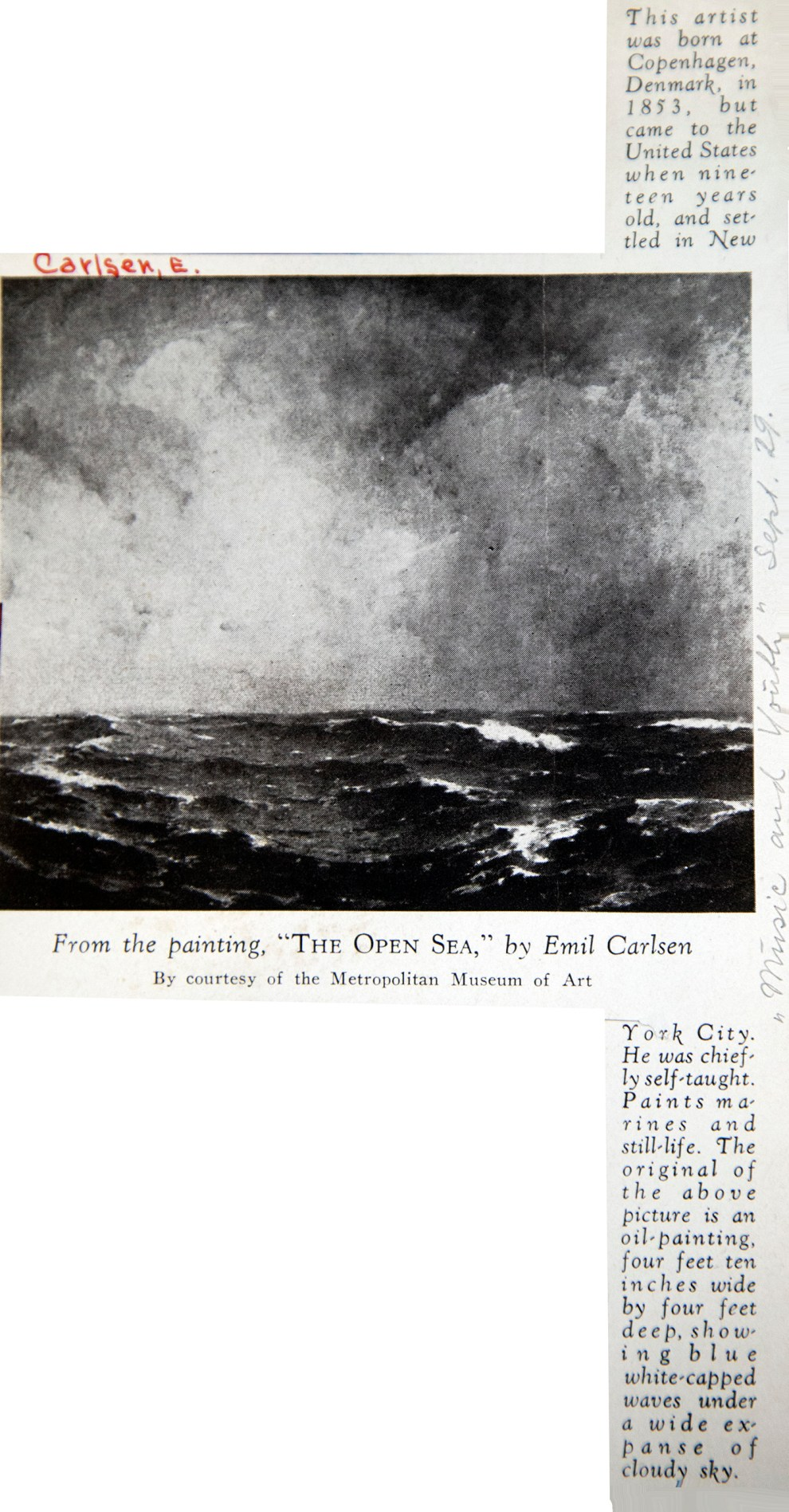 "Music and Youth, New York, NY, ""From the Painting, The Open Sea, by Emil Carlsen"", September, 1929"