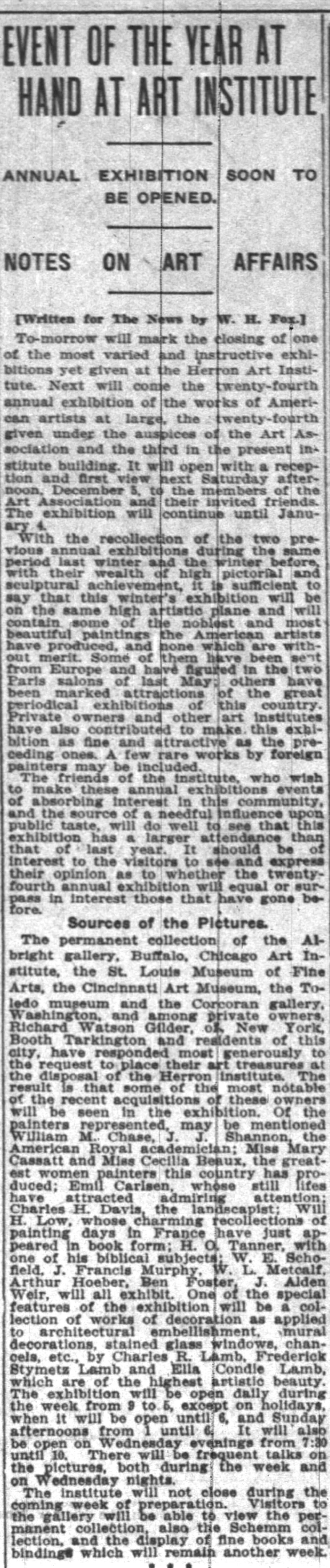 "Indianapolis News, Indianapolis, IN, ""Event of the year at hand at art insitute"" by W H Fox, Saturday, November 28, 1908, page 23"
