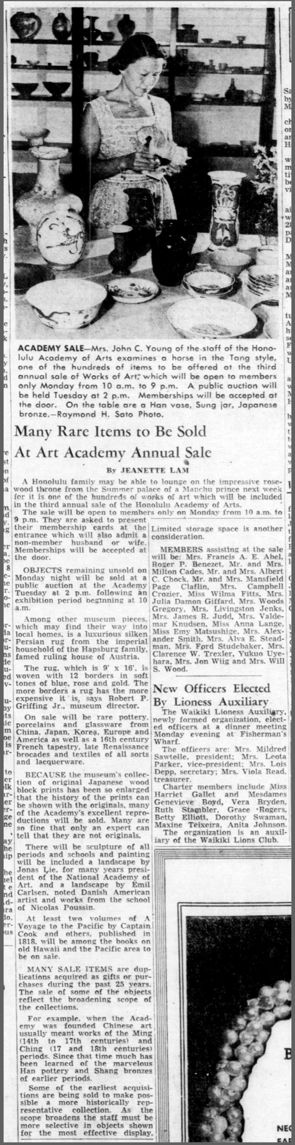 """Honolulu Star-Bulletin, Honolulu, HI, """"Many rare items to be sold at art academy annual sale"""" by Jeanette Lam, Friday, October 9, 1953, page 15, not illustrated"""