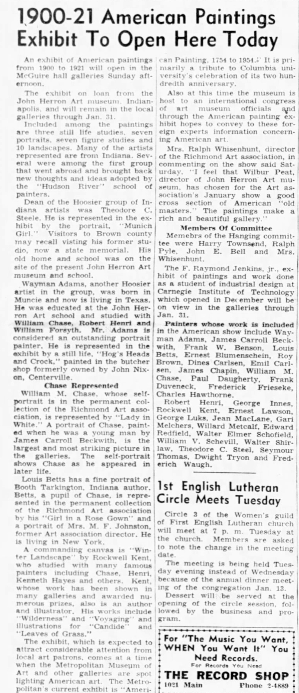 """Palladium-Item, Richmond, IN, """"1900-21 American paintings exhibit to open here today"""", Sunday, January 10, 1954, main edition, page 6, not illustrated"""