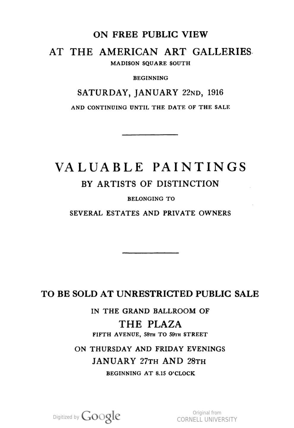 "1916 American Art Galleries, New York, NY, ""Valuable paintings by artists of distinction belonging to the estates of the late Mr. J. R. Andrews…"", January 22-28."