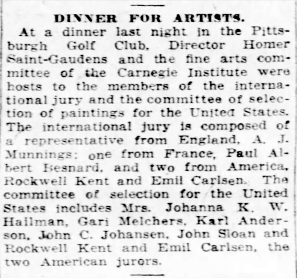 "Pittsburgh Daily Post, Pittsburgh, PA, ""Dinner for artists"", Friday, April 4, 1924, page 5, not illustrated"