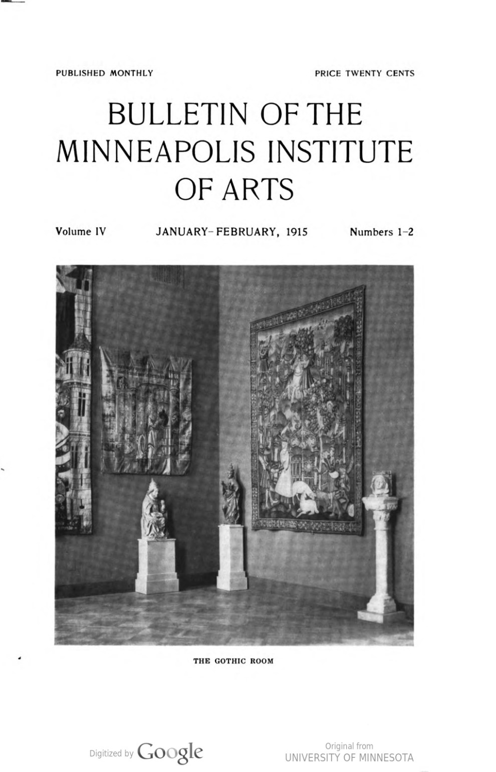 "Bulletin of the Minneapolis Institute of Arts, The Minneapolis Institute of Arts, Minneapolis, MN, ""List of accessions : July, 1914 - January, 1915"", January - February, 1915, volume 4, number 1-2, page 23, not illustrated"