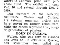 "Oshkosh Daily Northwestern, Oshkosh, WI, ""Carnegie art judges named for gathering : First meeting of American committee will be in New York on Sept. 11 and Pittsburgh, Sept 22"", June 28, 1930, not illustrated."
