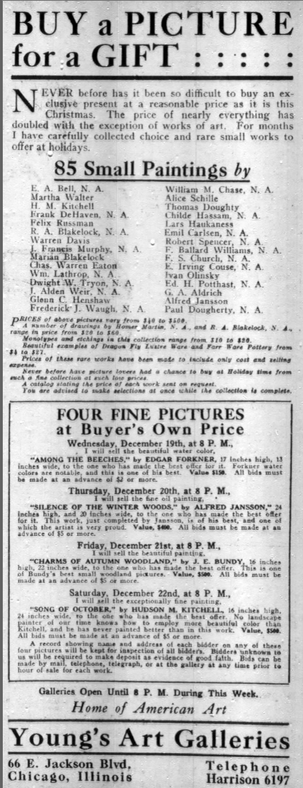 "Chicago Daily Tribune, Chicago, IL, ""Buy a picture for a gift"", Tuesday, December 18, 1917, page 6, not illustrated"