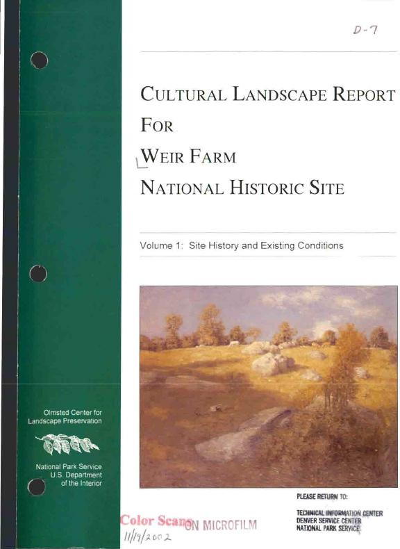 Cultural landscape report for Weir far national historic site, volume 1 : Site history and existing conditions, by Child Associates, 1996, Boston, MA, page 74-75, figure 38, illustrated: b&w on page 74
