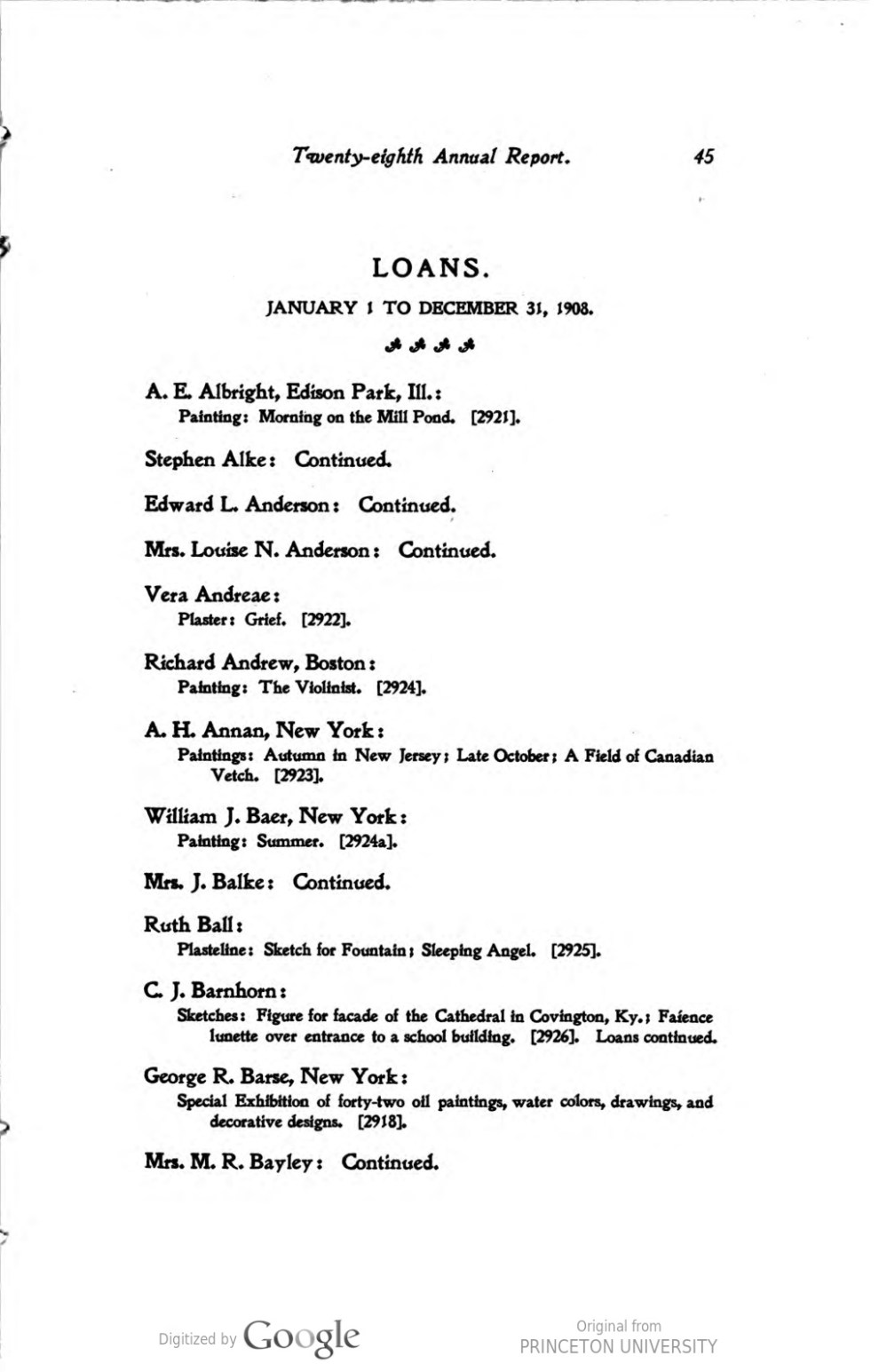 """Cincinnati Museum Association, Cincinnati, OH, """"Twenty-eighth annual report : for the year ending December 31, 1908"""", 1908, pages 45-46, not illustrated."""