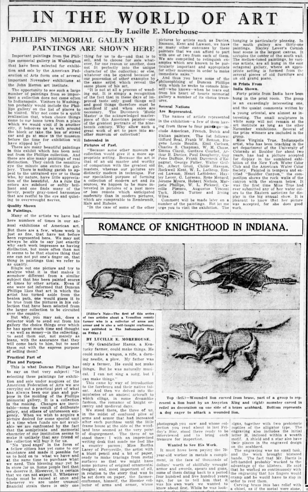 """The Indianapolis Star, Indianapolis, IN, """"In the world of art : Phillips memorial gallery paintings are shown here"""" by Lucille E. Morehouse, Sunday, November 9, 1930, page 53, not illustrated."""