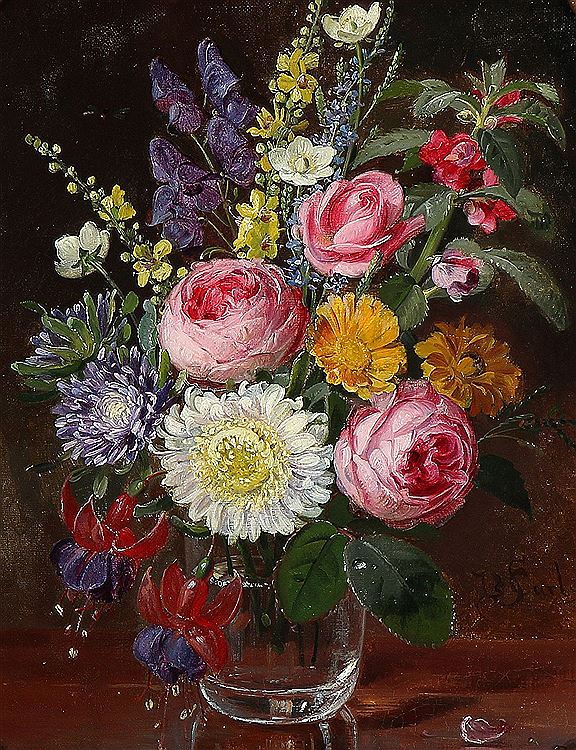 Emil Carlsen : Still life with flowers in a vase, ca.1867.