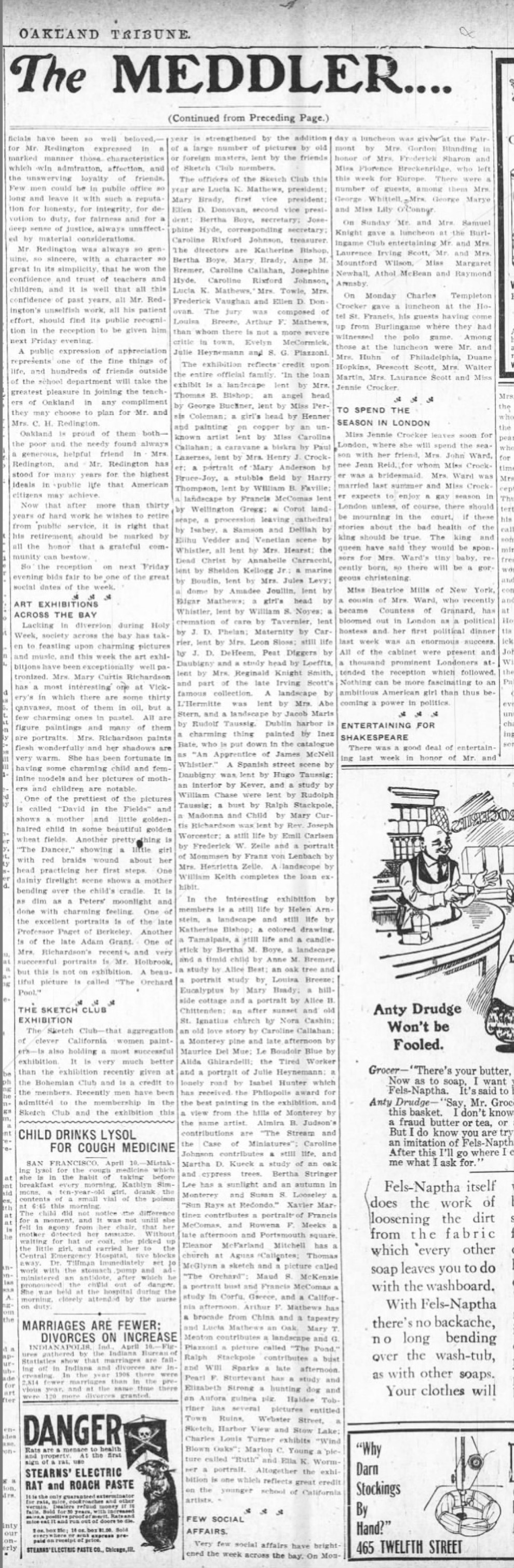 """Oakland Tribune, Oakland, CA, """"The meddler... : the sketch club exhibition"""", Saturday, April 10, 1909, page 10, not illustrated."""