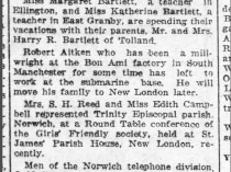 "Norwich Bulletin, Norwich, CT, ""Various matters"", Wednesday, April 5, 1922, page 5, not illustrated."