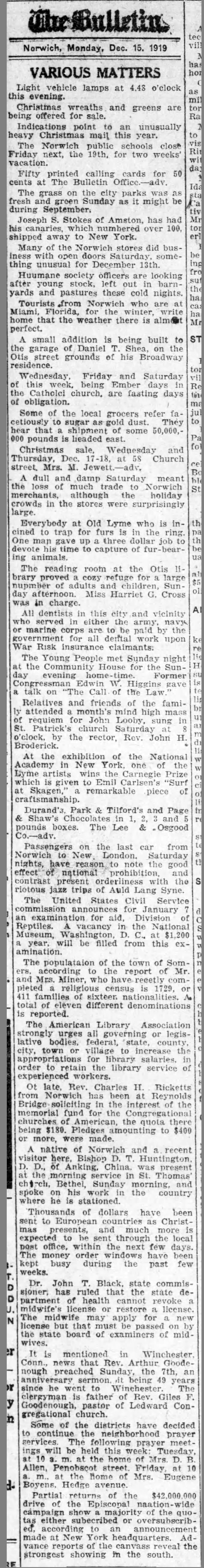 """Norwich Bulletin, Norwich, CT, """"Various matters"""", Monday, December 15, 1919, page 5, not illustrated."""