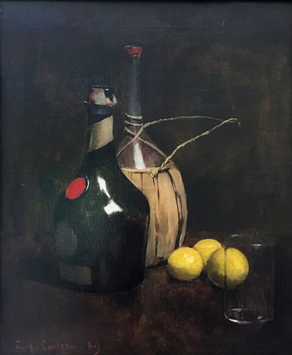 Emil Carlsen : Sangria punch—still-life with cognac, wine bottle, glass and lemons, 1889.