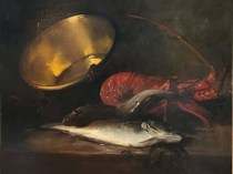 Emil Carlsen : Still life with pot, lobster and fish, ca.1882.