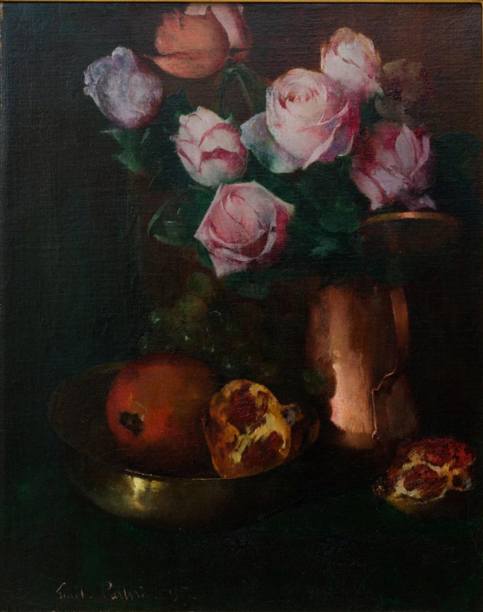 Emil Carlsen : Roses in a copper jar, 1897.