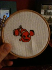Completed Finding Nemo cross stitch