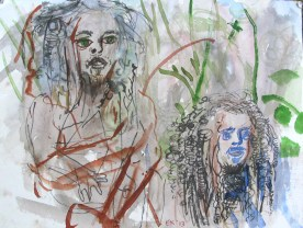 Andy and John in the Woods, watercolor and ink on paper, 14 by 14 in. Emilia Kallock 2013
